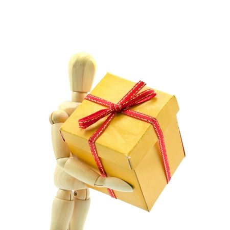 wood dummy take gift box for give someone Stock Photo - 11475168