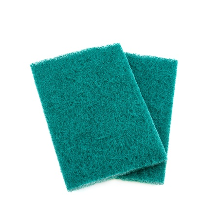 scouring: green scrub pad isolated on white background