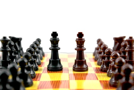 gamesmanship: fighting between of the leader on chess board Stock Photo