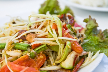 roman beans: delicious thai style food,hot and spicy taste Stock Photo