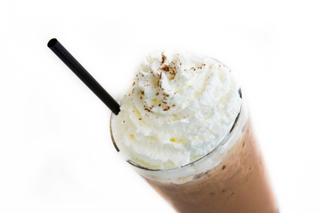 frappe: Ice Mocca with whip cream isolated on white background Stock Photo