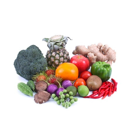 fruit and vegetable isolated on white background, healthy concept photo