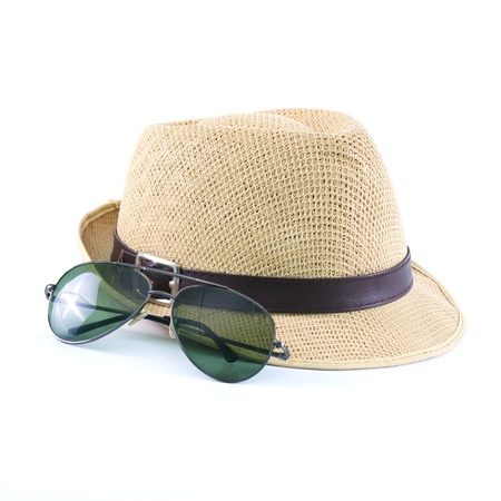 mexican girl: hat and sunglasses isolated on a white background