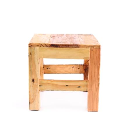 wood stool isolated on white background photo