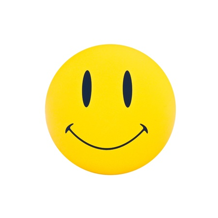 lächeln, glückliches Gesicht auf gelben Stift