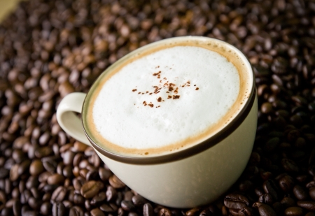 latte macchiato: cup of coffee cappuccino on seed