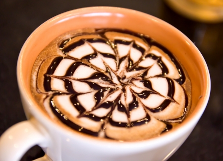 french cafe: cup of coffee  with latte art