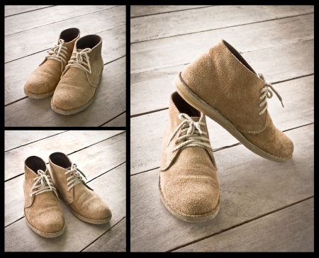 brown boots on wood Stock Photo - 15573523
