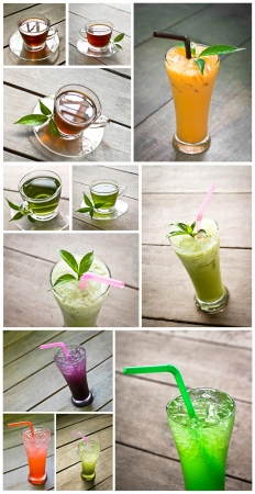 milk tea, green tea, italian soda, that is relax beverage photo