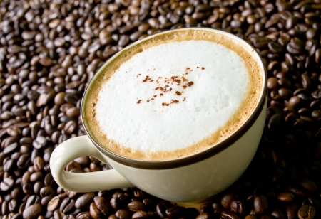 frothy: cup of coffee cappuccino on seed