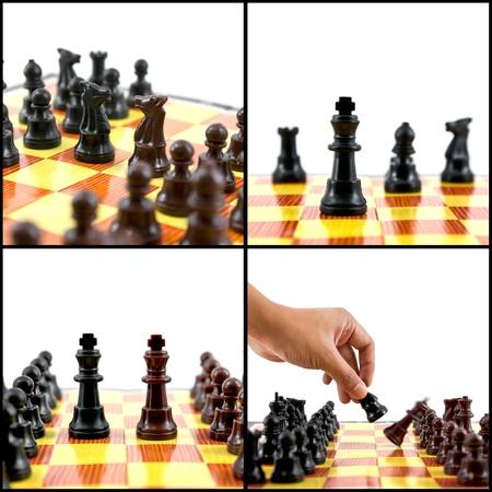 gamesmanship: collage de ajedrez, lucha entre el caballero, rey, jaque mate Foto de archivo