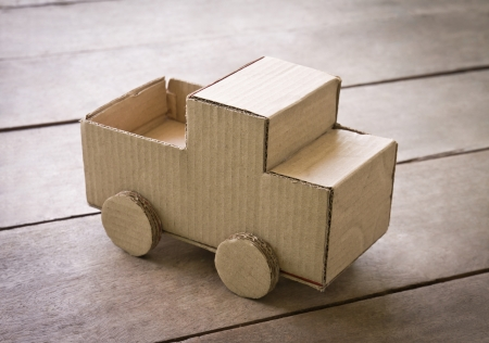 miniature truck made from corrugated photo