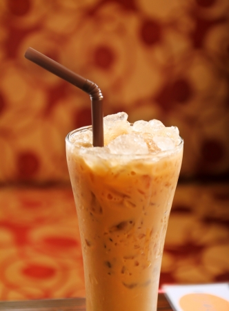 ice coffee with brown straw photo