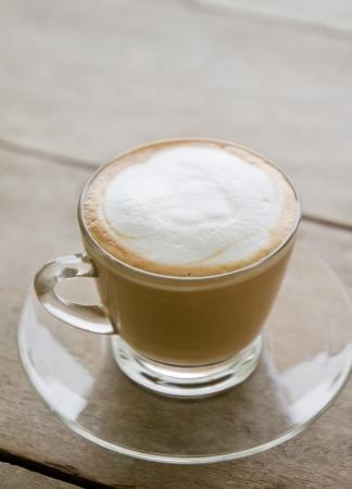 latte macchiato: cup of coffee on table, cappuccino Stock Photo