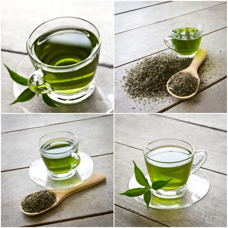 collage of cup of green tea photo