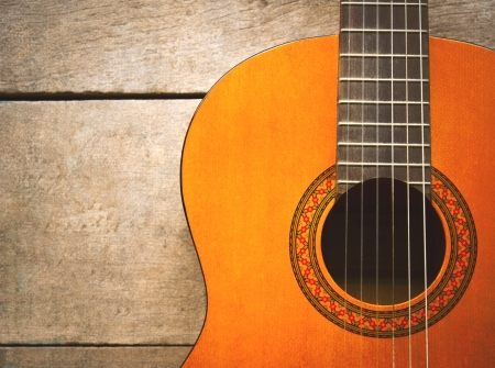 acoustic classical guitar with strings photo