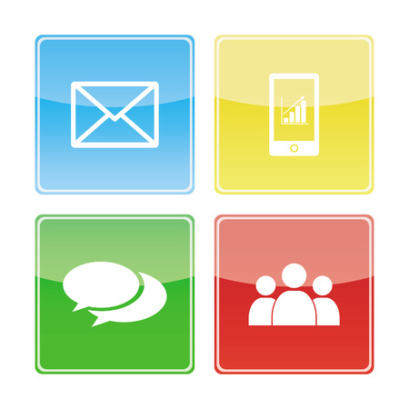 Contact buttons set - email, phone, speech bubble, teamwork, vector illustration  Vector