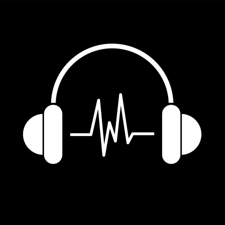 earbud: white headphone with rhythm symbol,