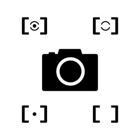 evaluative: black camera with metering mode icon Illustration