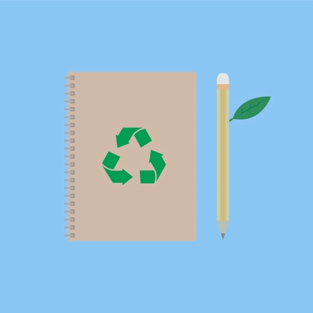 notebook and pencil with green leaf, conservation concept Vector