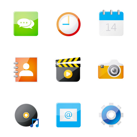 adress book: Set of application icon  on smart phone, vector illustration