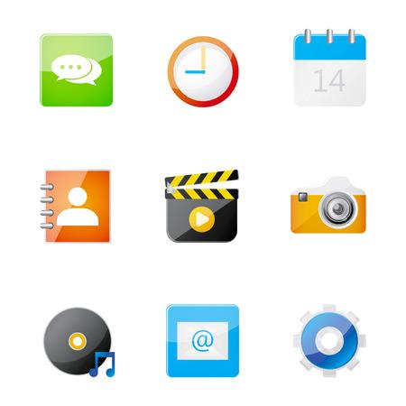 adress: Set of application icon  on smart phone, vector illustration
