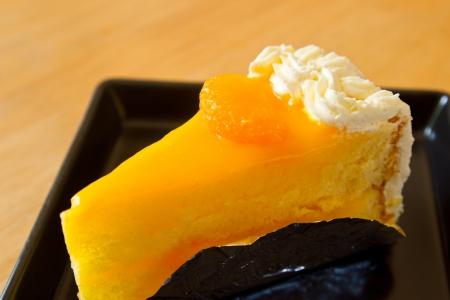 orange cake: Orange cake with whipping cream, smooth taste Stock Photo