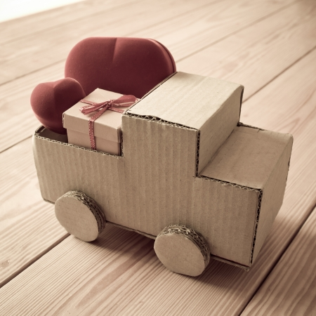 valentine's present on corrugated truck photo