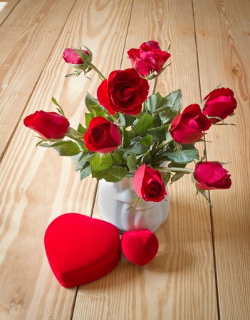 valentine's present, rose and ring box on Stock Photo - 25375358