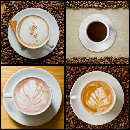 americano: collage of coffee, cappuccino, latte, americano