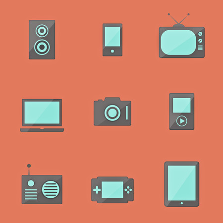 icon set of electronic equipment Vector