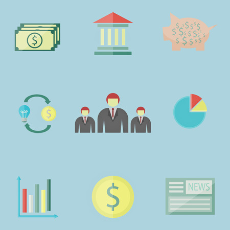 set of money and business icon Vector