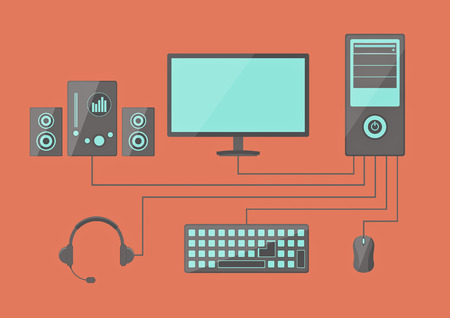 set of computer icon flat style illustration Vector