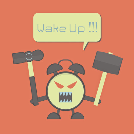 angry alarm clock with hammer for awaken sleepyhead Vector