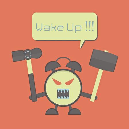 angry alarm clock with hammer for awaken sleepyhead Vectores