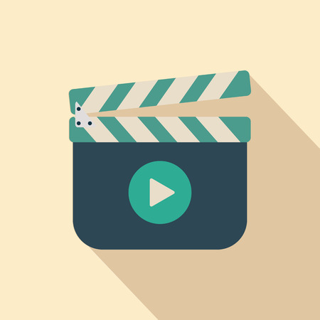 Movie clapper board icon with shadow Vector
