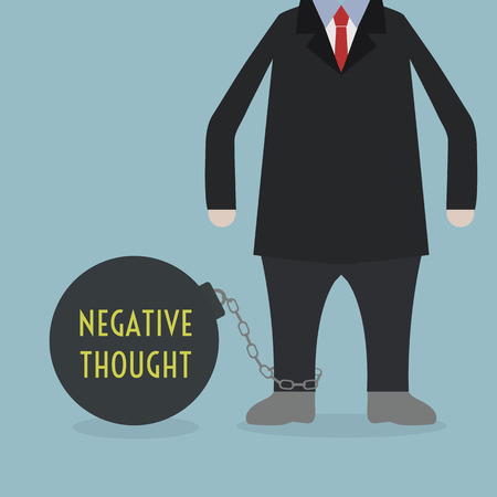 Businessman locked in a NEGATIVE THOUGHT Ball and Chain Vector