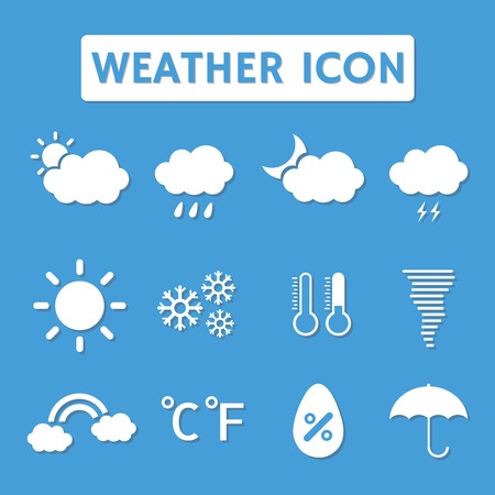 humidity: set of  weather icon with shadow, flat style Illustration