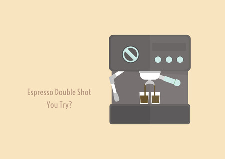 espresso machine: espresso machine brewed espresso double shot with text you try? Illustration