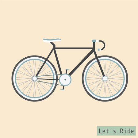 black fixed gear bicycle, flat style Vector
