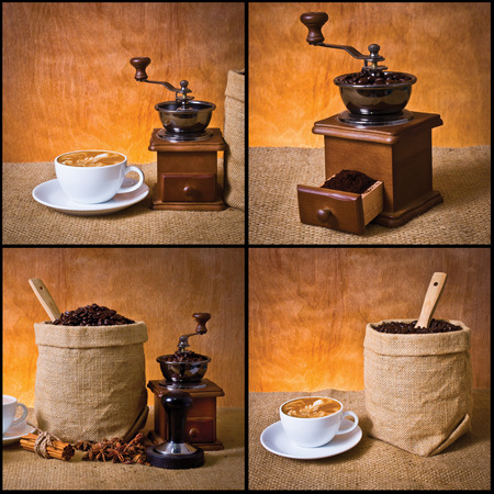 tamper: set of coffee, cup of coffee,ground coffee in, cinnamon, star anise, tamper and coffee grinder