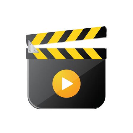 movie clapper: Movie ciak icona con ombra, illustraion