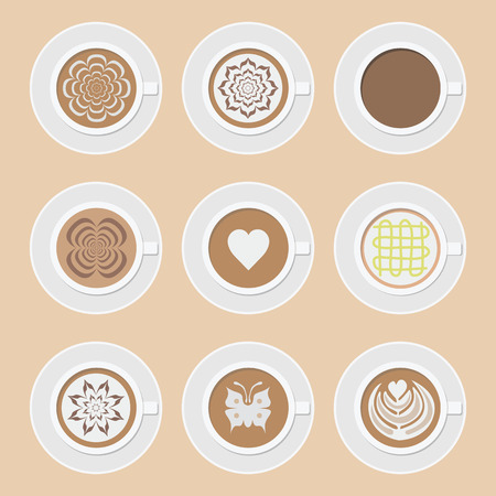 set of cup of coffee, americano, cappuccino, mocha, latte and another latteart style Vector