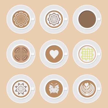 set van een kopje koffie, americano, cappuccino, mokka, latte en andere latteart stijl