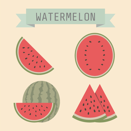 watermelon slice: set of watermelon with sign Illustration