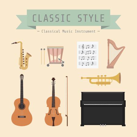 arpa: conjunto de instrumento musical classiical y firme, de estilo plano