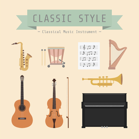 orchestra: set of classiical musical instrument and sign, flat style Illustration