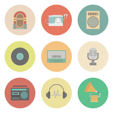 cd recorder: set of old style sound, flat style Illustration
