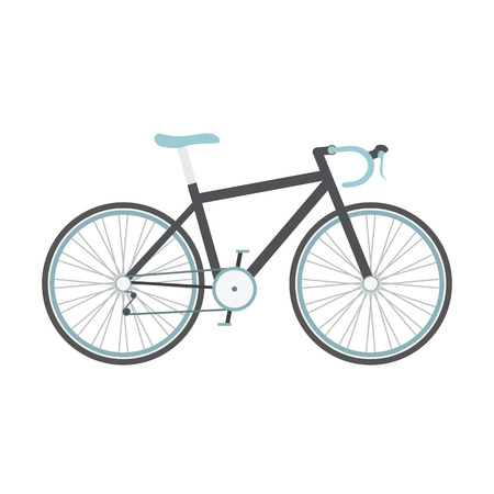 bicycle pedal: black road bike with blue seat isolated on white background, flat style Illustration