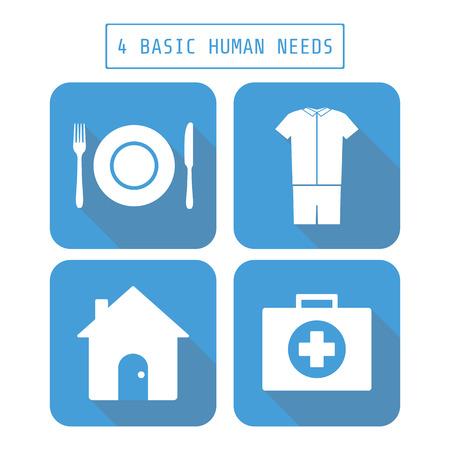 hospedaje: icono de cuatro necesidades humanas básicas, de estilo plano